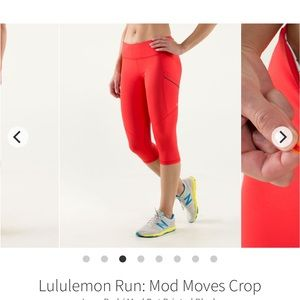Red Polka Dot Lululemon Run Crop Leggings Capri